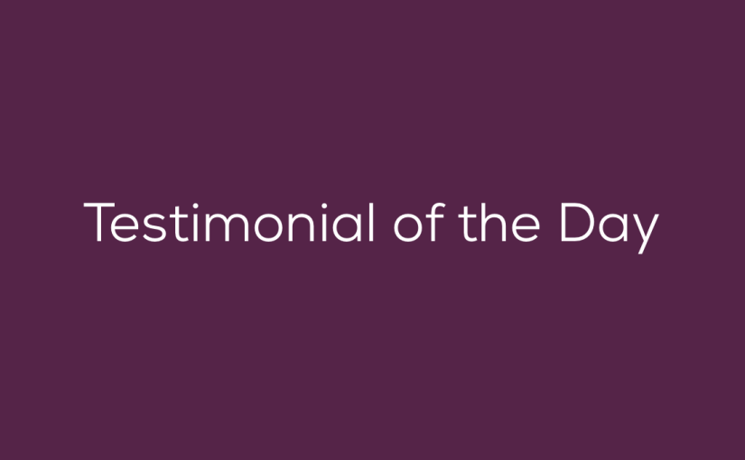 Testimonial of the Day –  From Marie and Aaron